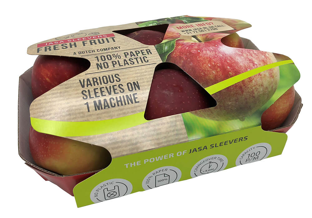 Appel sleeve 100% cardboard 100% recyclable, duurzaam verpakken, sustainable packaging